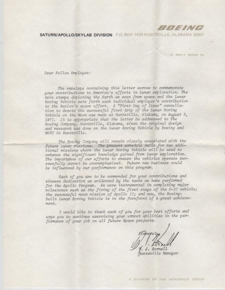 RIGO - 02.08.71 Huntsville, AL - Enclosed letter