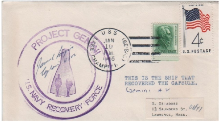 (Fig 6) 19.01.65 USS Lake Champlain. Splashdown GT-2. Cover signed by Captain James Longino Jr.
