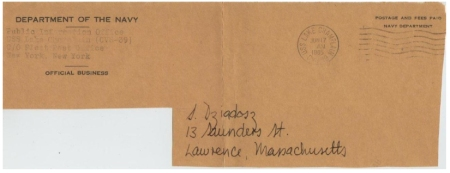 (Fig 7) 17.06.65 USS Lake Champlain. Front of cover addressed to collector.