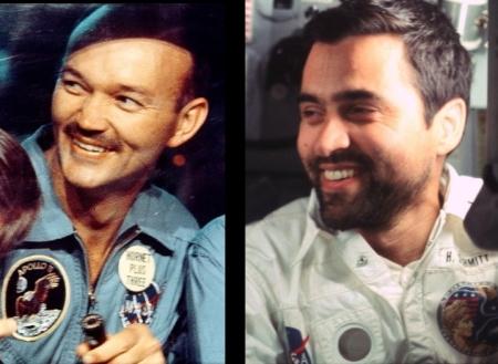 Collins a la izq. (Apolo 11) y Schmitt a la dcha. (Apolo 17).