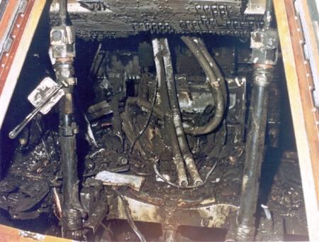 Estado en que quedó la capsula del Apolo 1 después del incendio.